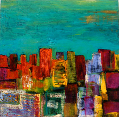 Michael's recent painting of San Francisco City Skyline
