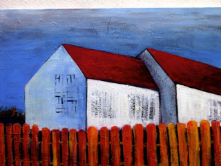 Painting of white house with picket fence.